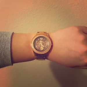 Fossil Stainless Steel Gold Watch with Quartz Stud
